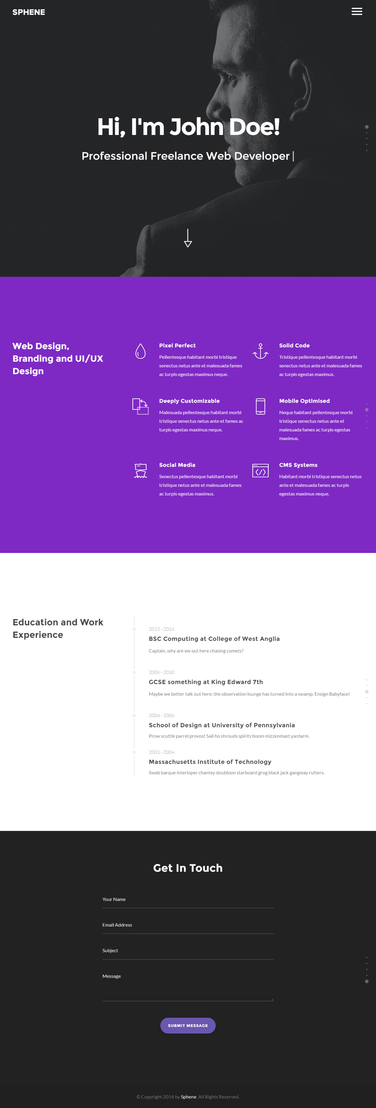 Sphene Resume And CV Website Template  Resume Website Template