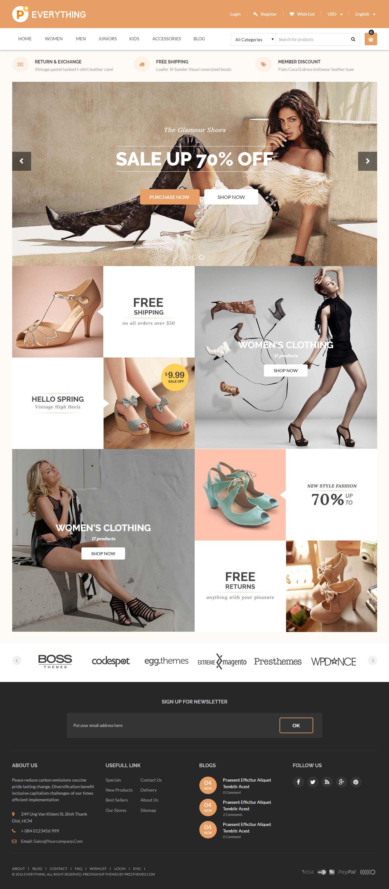 5 best responsive shoes prestashop theme 2016 responsive for Perfect kitchen equipment
