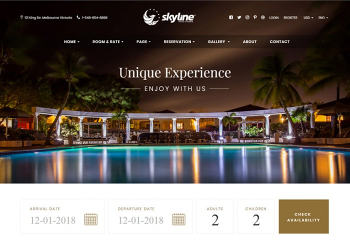 SkyLine – Premium Responsive Hotel Booking HTML5 Template