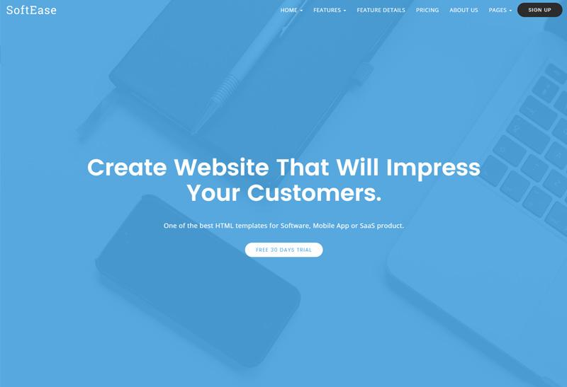 Softease Premium Responsive Multipurpose Software Saas