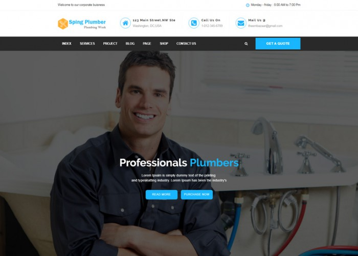Sping Plumber – Premium Responsive Construction HTML5 Template