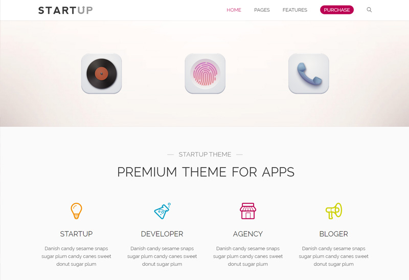 Startup Premium Responsive App Agency Wordpress Theme