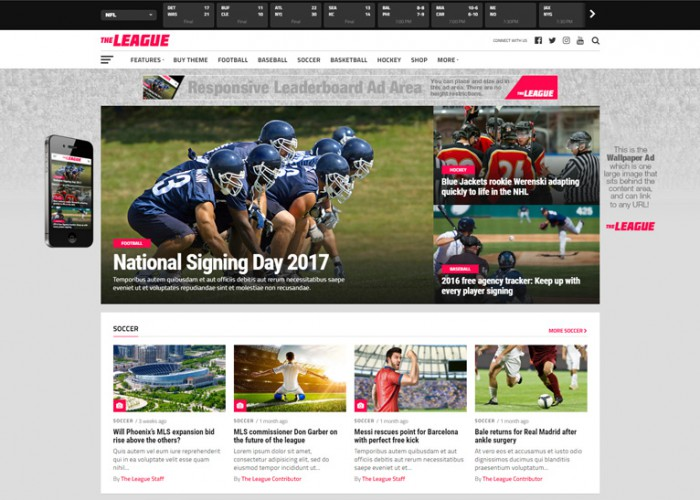 The League – Premium Responsive Sports News & Magazine WordPress Theme