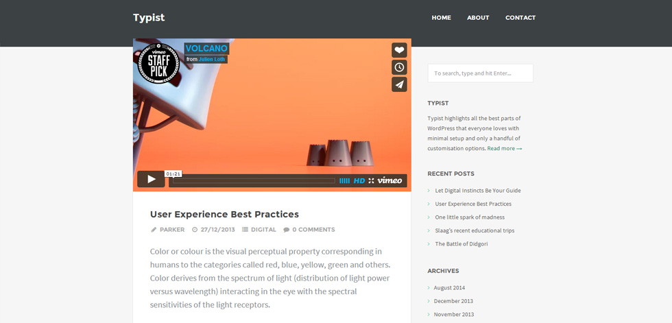 Typist Premium Responsive Writers Wordpress Theme