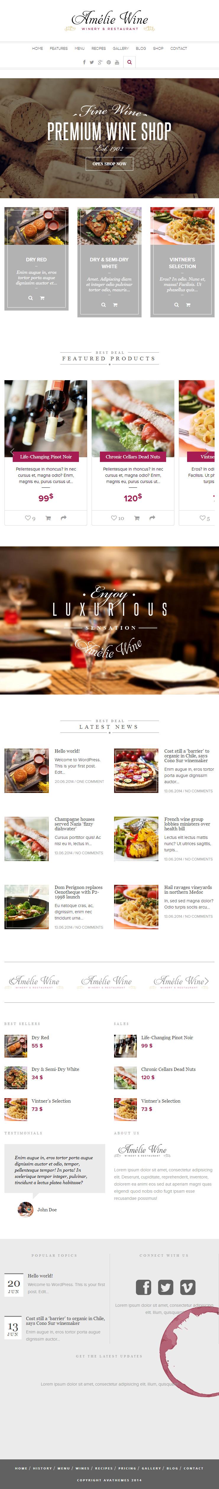 Wine Premium Responsive Restaurant Flat Wordpress Theme