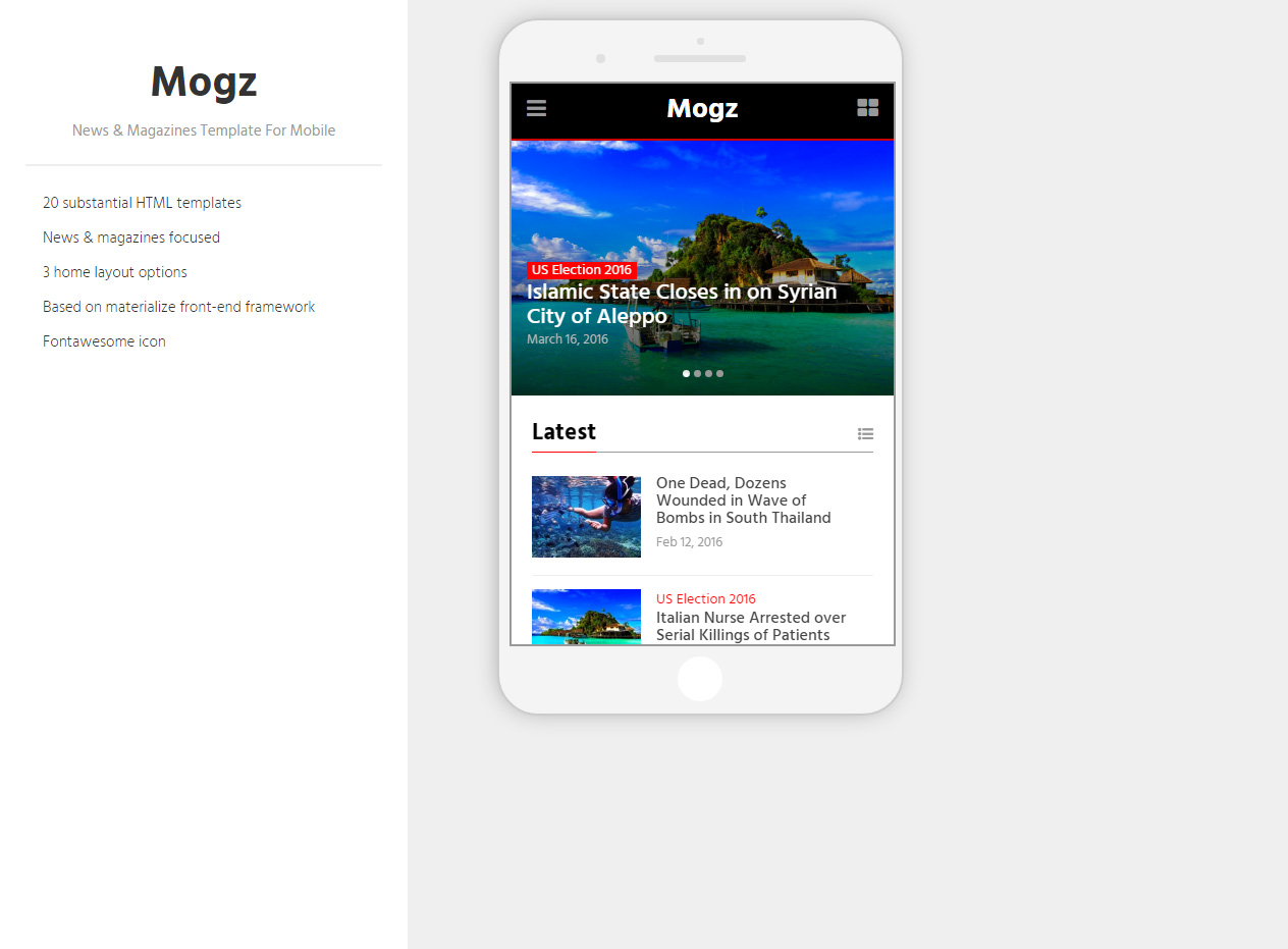 Mogz Premium Responsive News Magazines Html5 Template For Mobile