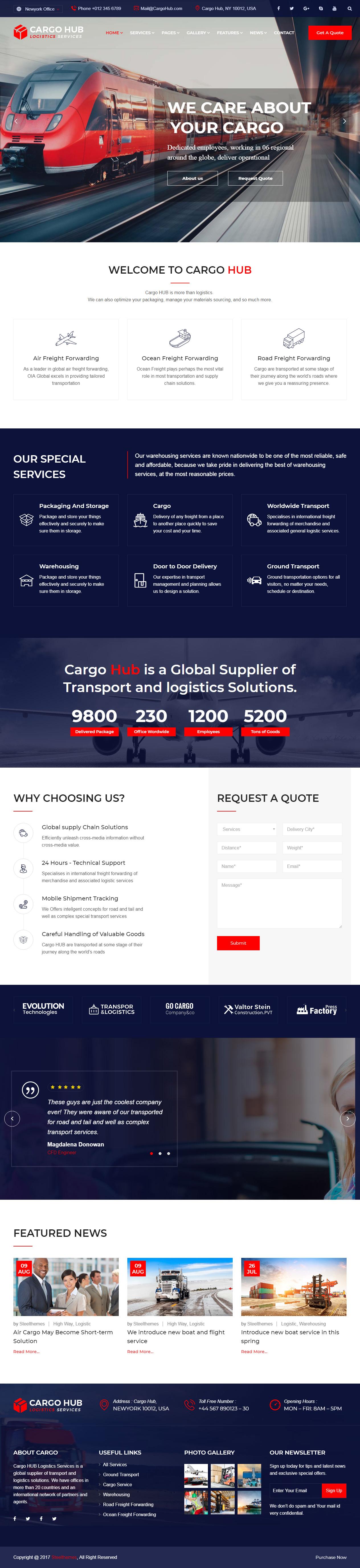 Cargo HUB Transportation Website Templates