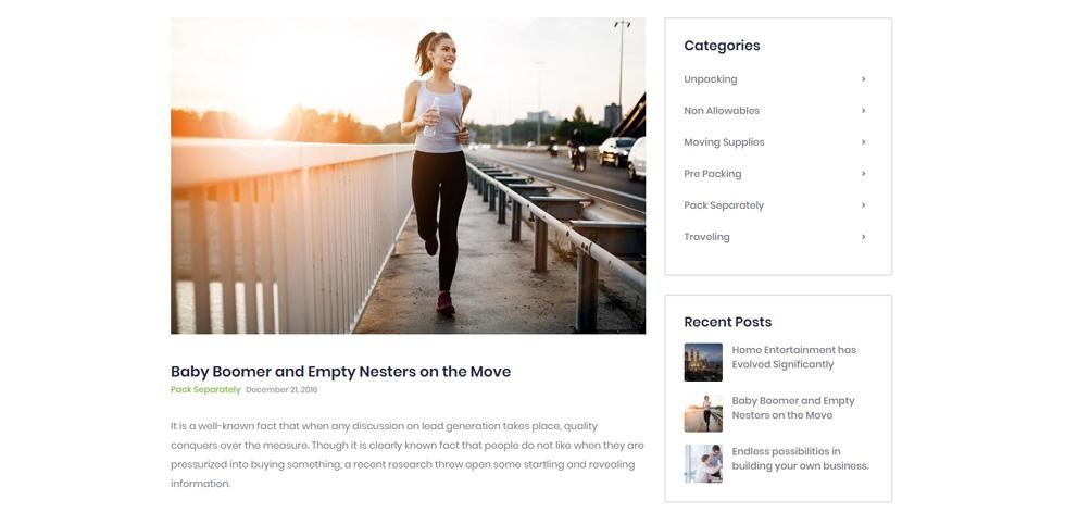 Blog post page