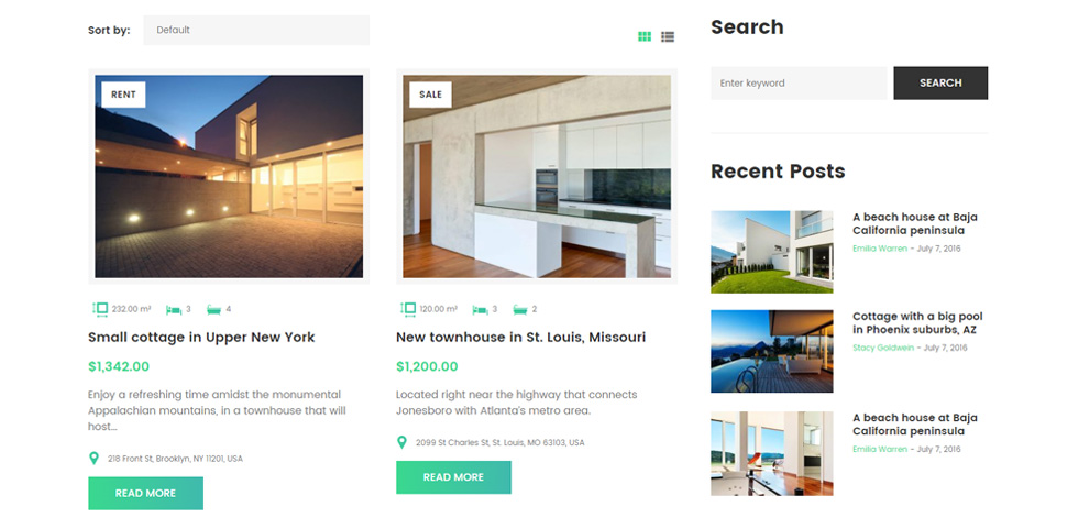 Properties listing
