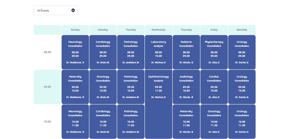 Doctors timetable