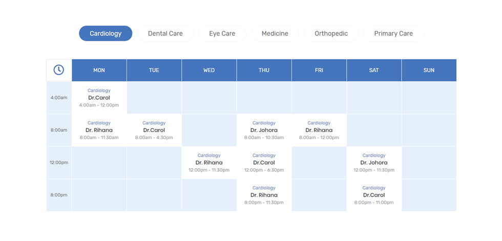 Departments Timetable