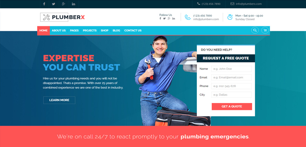 Plumberx - Premium Responsive Plumber and Construction WordPress ...