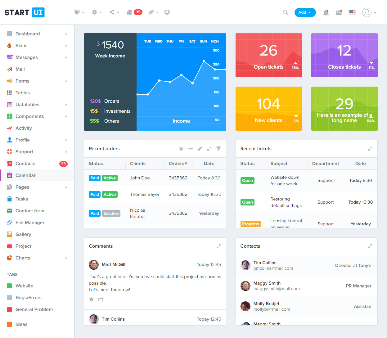 40 Best Html5 Dashboard Templates And Admin Panels 2017 2018