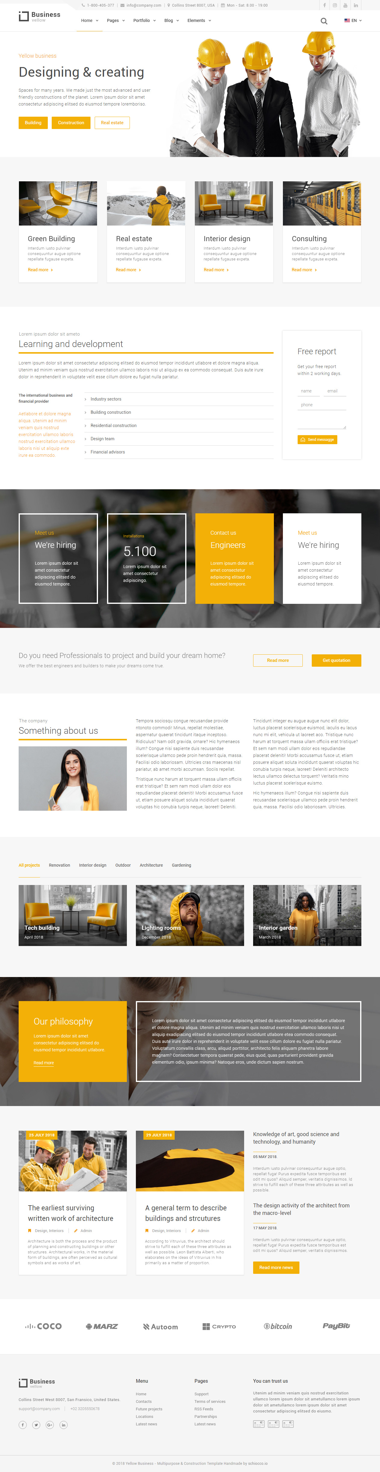 15 best construction company html5 templates 2018 responsive miracle yellow business construction company html5 templates flashek Images