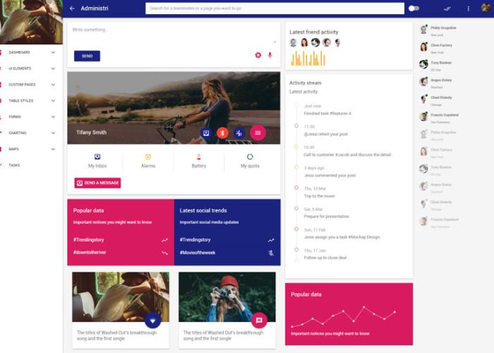 Administri – Premium Responsive Material Design Dashboard HTML5 Template