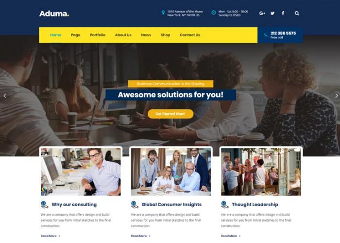 Aduma – Premium Responsive Consulting, Finance WordPress Theme