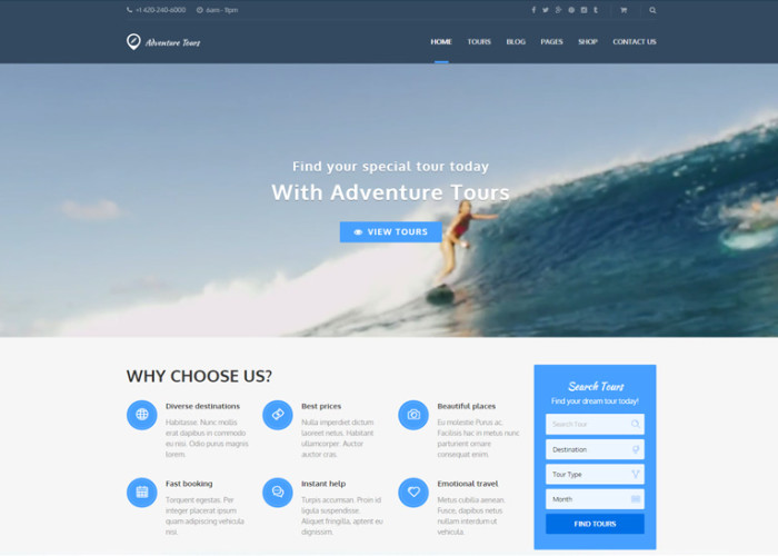 Adventure Tours – Premium Responsive WordPress Tour/Travel Theme