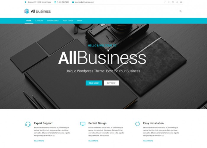 All Business – Premium Responsive Corporate Material Design WordPress Theme