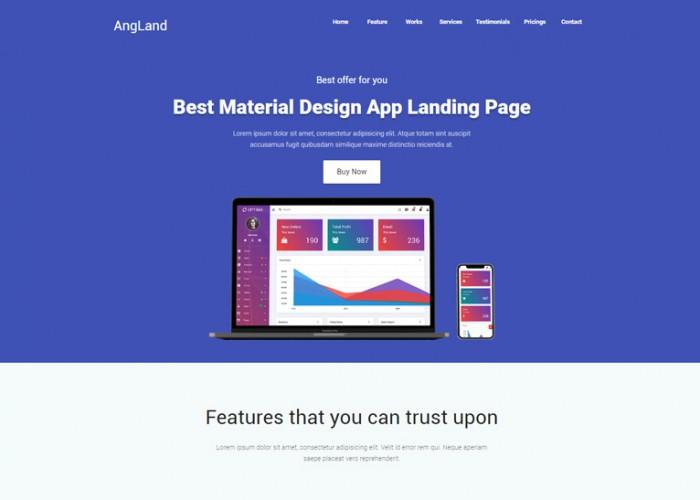 Angland – Premium Responsive Angular Landing Page HTML5 Template