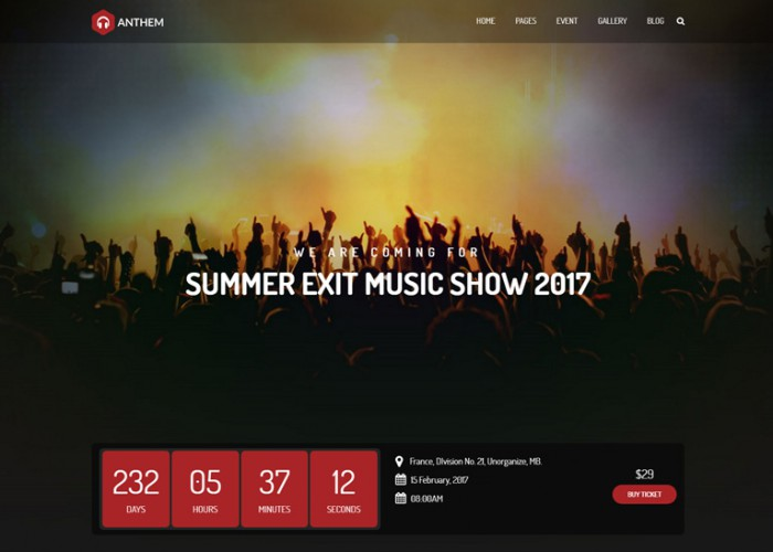 Anthem – Premium Responsive Music Band & Musical Events WordPress Theme