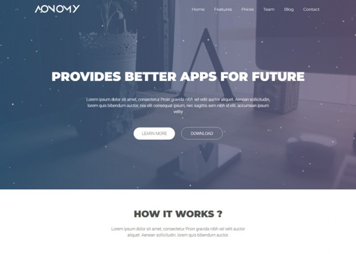 Aonomy – Premium Responsive App Landing Page HTML5 Template