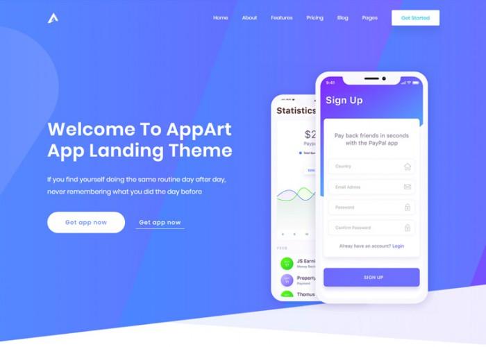 AppArt – Premium Responsive App Showcase WordPress Theme