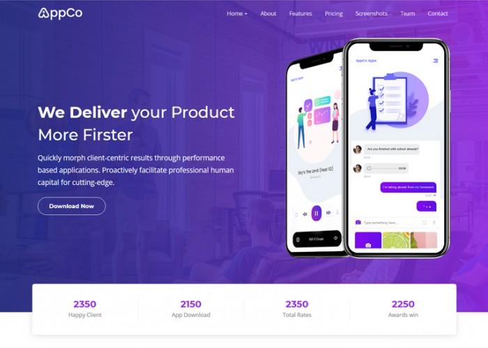 AppCo – Premium Responsive React App Landing Page HTML5 Template