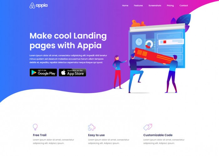 Appia – Premium Responsive Angular 11 App Landing HTML5 Template