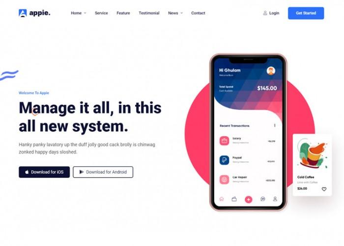 Appie – Premium Responsive App Landing Page HTML5 Template