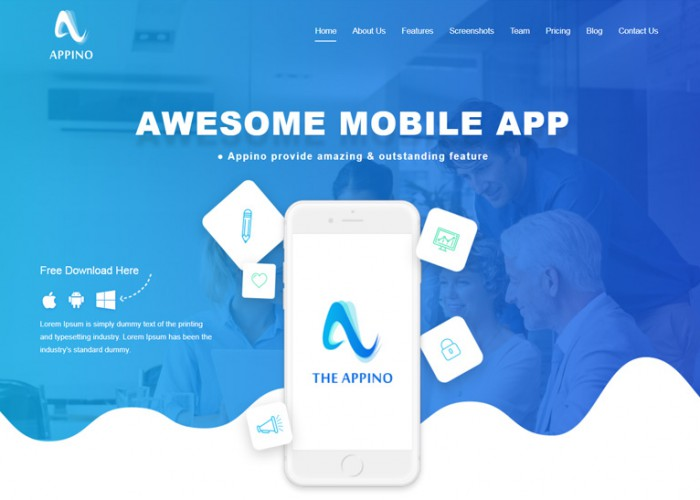 Appino – Premium Responsive Mobile App Landing Page HTML5 Template