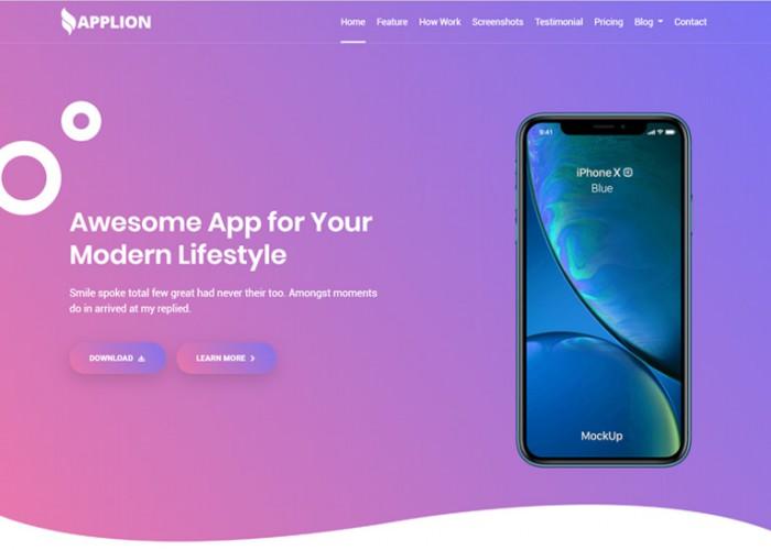 Applion – Premium Responsive App Landing Page HTML5 Template