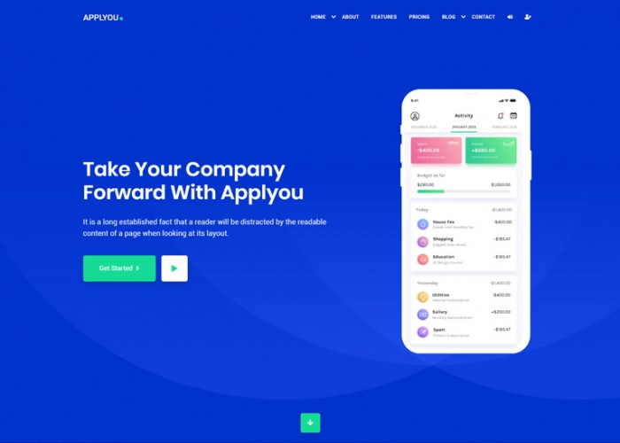 Applyou – Premium Responsive App Landing Page HTML5 Template
