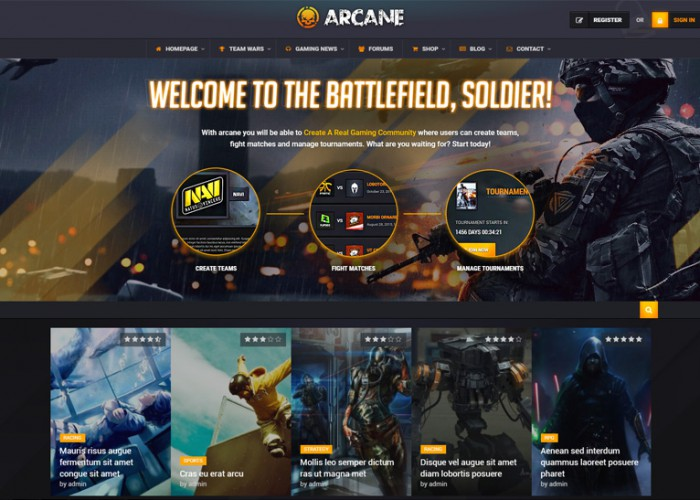 Arcane – Premium Responsive Gaming Community WordPress Theme