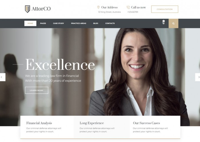 AttorCO – Premium Responsive Attorney & Lawyer WordPress Theme