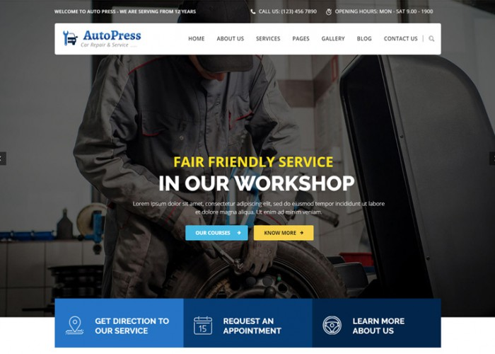 AutoPress – Premium Responsive Car Repair & Services WordPress Theme
