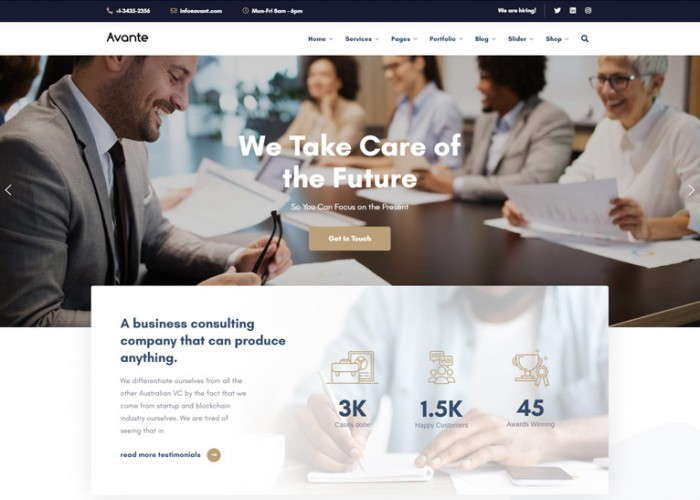 Avante – Premium Responsive Business Consulting WordPress Theme