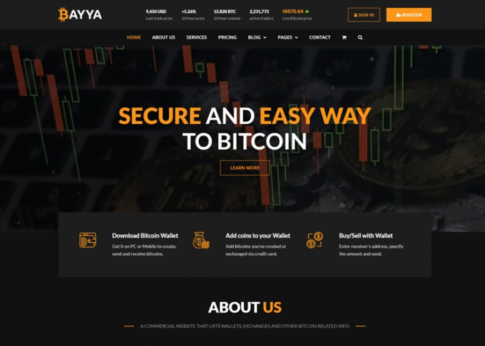 Bayya – Premium Responsive Bitcoin CryptoCurrency HTML5 Template
