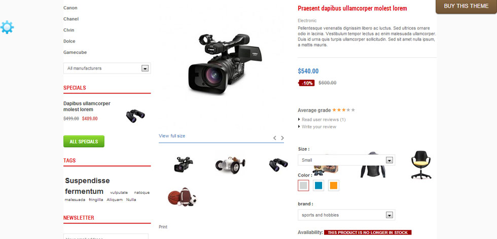 One product page