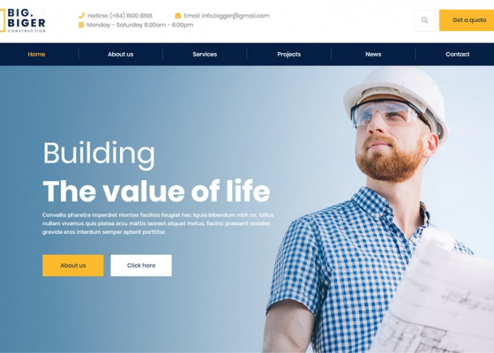 Bigger – Premium Responsive Construction WordPress Theme