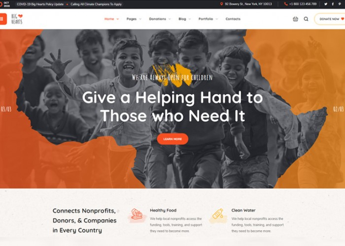 BigHearts – Premium Responsive Charity & Donation WordPress Theme