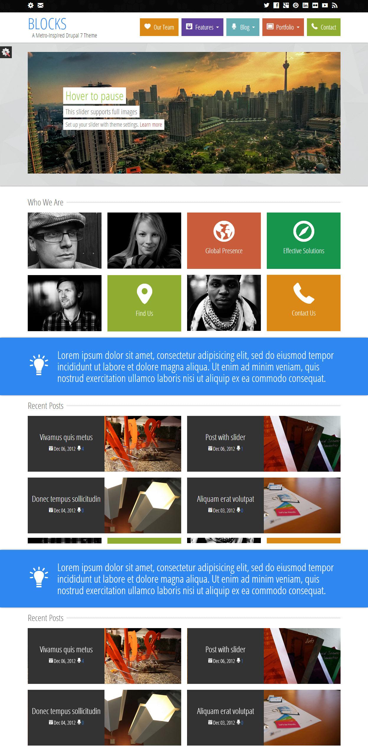 Block Premium Responsive Drupal 7 Metro Theme Free Demo