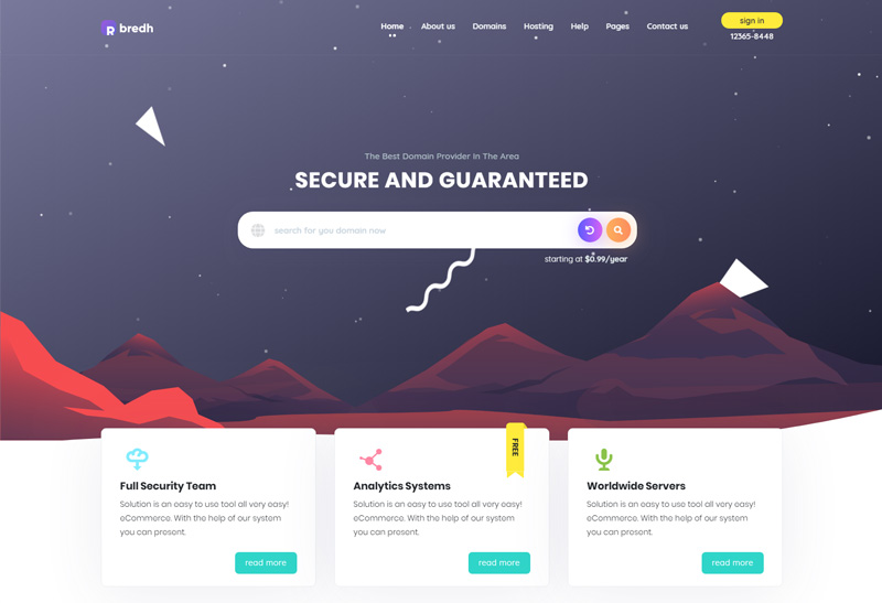 Bredh - Premium Responsive Web Hosting with WHMCS HTML5 Template