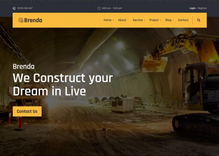 Brenda – Premium Responsive Construction Company HTML5 Template
