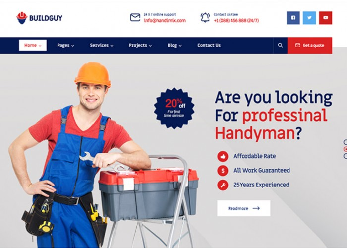 Buildguy – Premium Responsive Handyman Services WordPress Theme