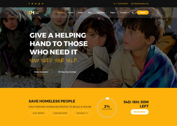 Charity Hope – Premium Responsive Non-Profit & Fundraising WordPress Theme