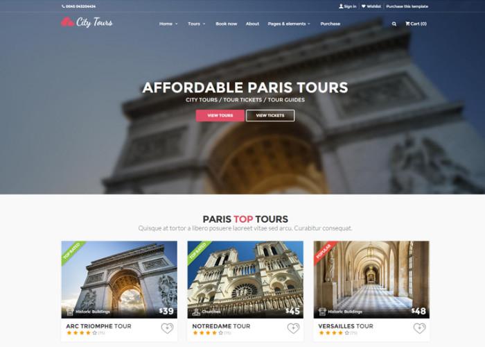 CityTours – Premium Responsive City Tours, Tour Tickets and Guides HTML5 Template