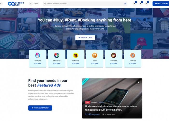 Classicads – Premium Responsive Classified Ads HTML5 Template