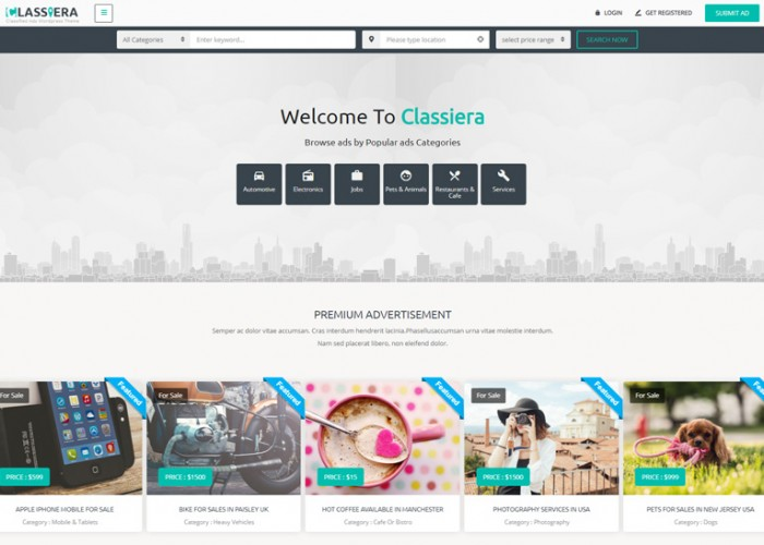 Classiera – Premium Responsive Classified Ads WordPress Theme