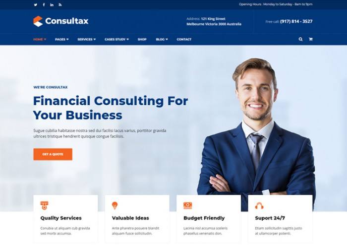 Consultax – Premium Responsive Financial Consulting WordPress Theme
