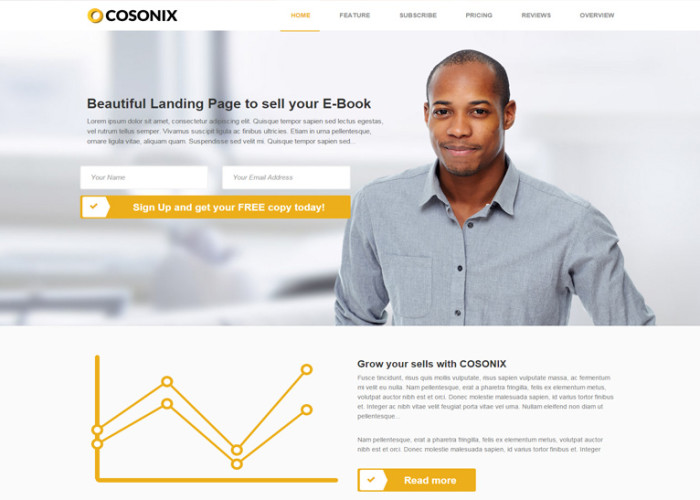 Cosonix – Premium Responsive One-Page eBook HTML5 Template